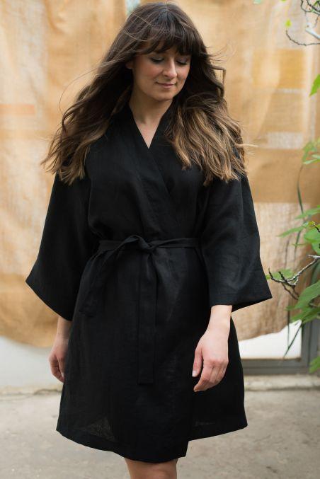 Sukienka lniana kimono czarna