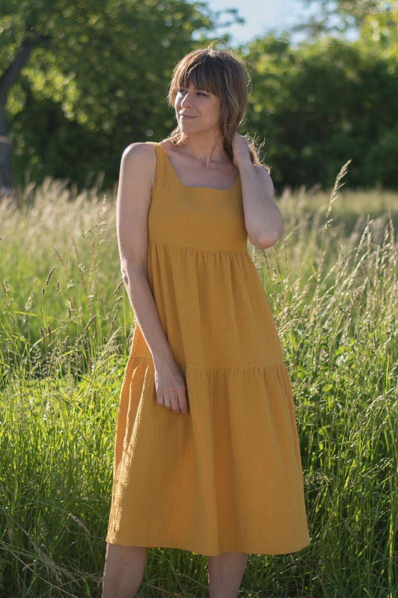 Sukienka midi w stylu boho z muślinu mango