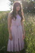 Sukienka wiązana midi z falbaną
