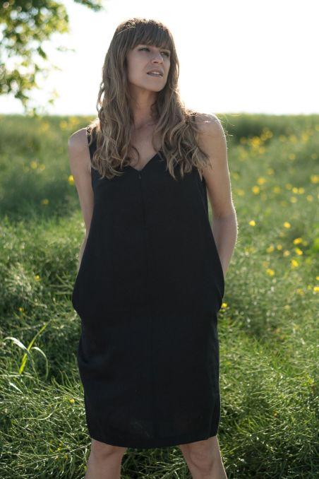 Sukienka do karmienia lniana czarna