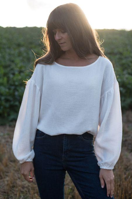Koszula z bufiastymi rękawami z muślinu śmietankowa