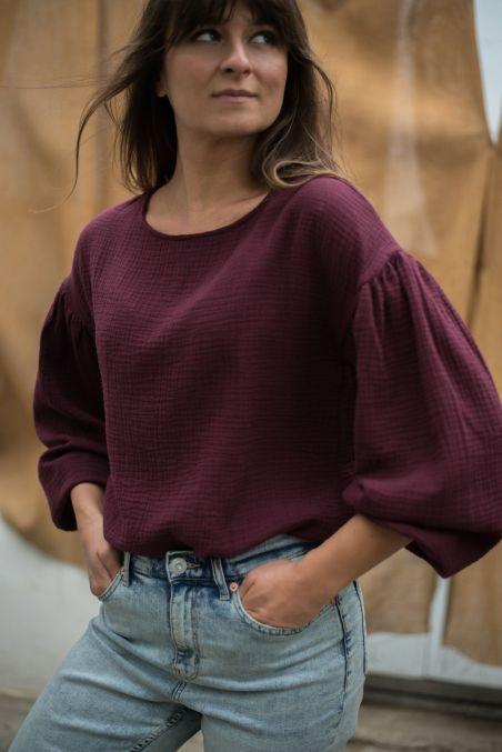 Koszula z bufiastymi rękawami z muślinu wino