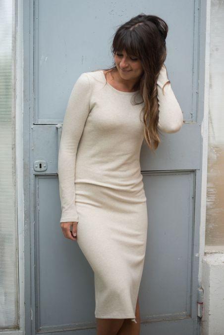 Sukienka midi z bawełny organicznej GOTS z rozcięciem