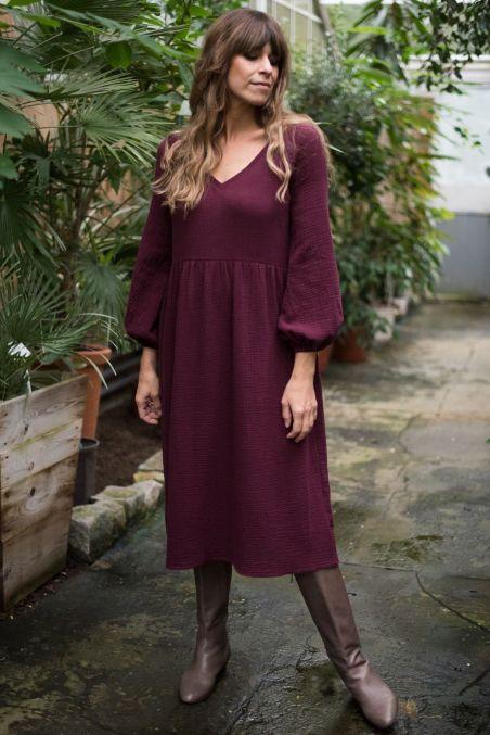 Sukienka midi z baloniastym rękawem z muślinu wino