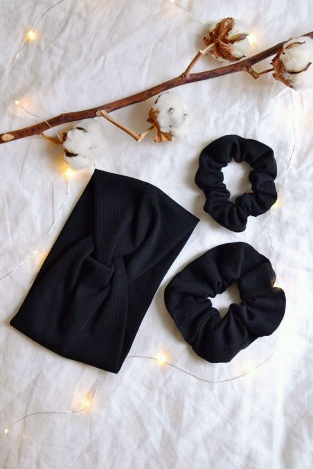 Zestaw czarny opaska turban i dwie gumki z bawełny organicznej