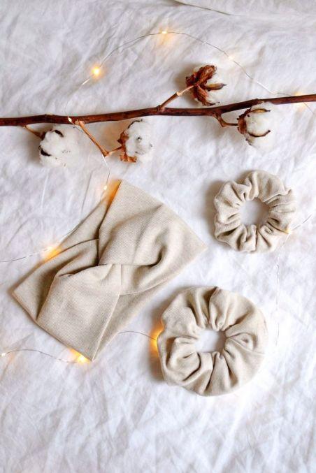 Zestaw beżowy opaska turban i dwie gumki z bawełny organicznej