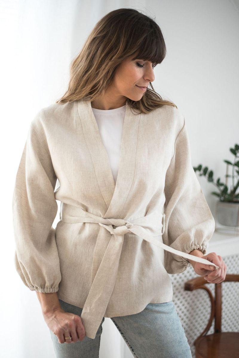 Lniane kimono z baloniastymi rękawami