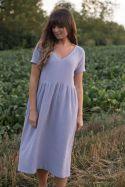 Sukienka midi z dekoltem V z muślinu lawendowa