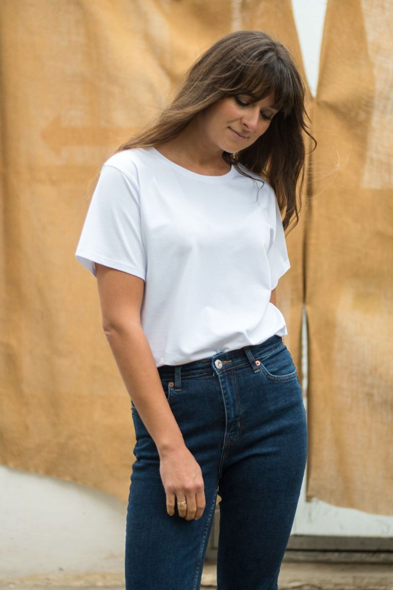 T-shirt biały vintage z bawełny organicznej