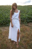 Lniana biała maxi spódnica z głębokim rozcięciem