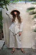 Lniany zestaw kimono i spodnie typu culotte