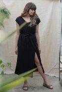 Sukienka maxi czarna z lnem z głębokim rozcięciem