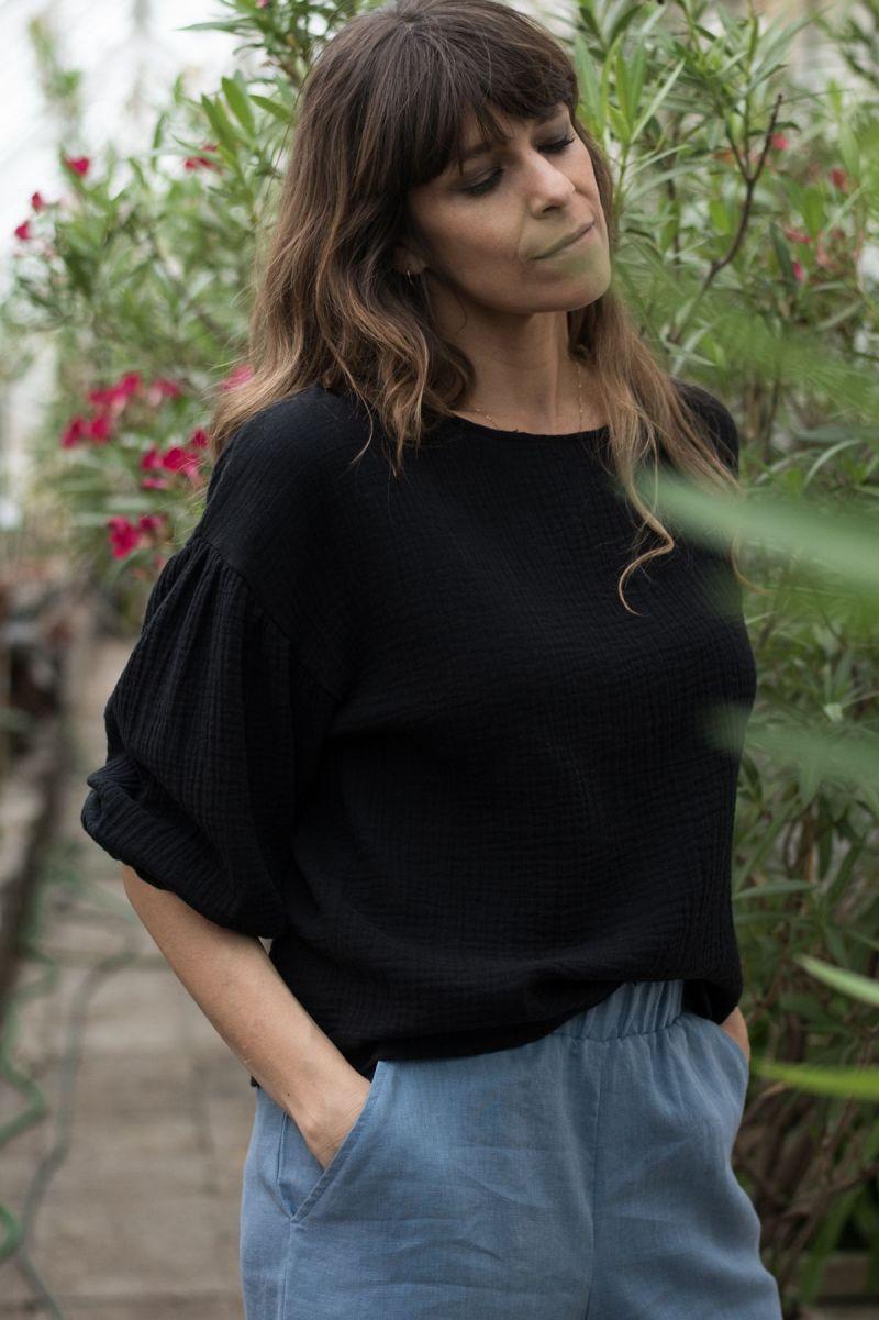 Koszula z bufiastymi rękawami z muślinu czarna