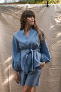 Lniana niebieska koszula kimono z baloniastymi rękawami