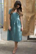 Sukienka midi z dekoltem v z muślinu mineralna zieleń