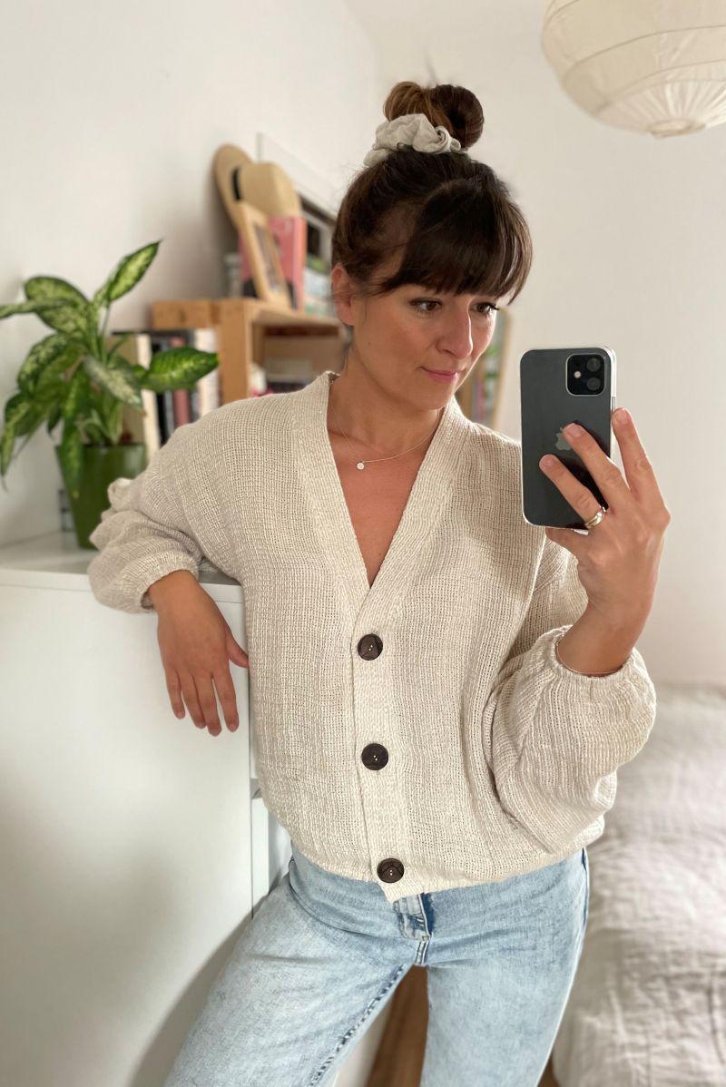 Sweter lniany z guzikami